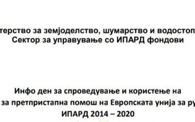 Инфо ден за ИПАРД 2014 – 2020