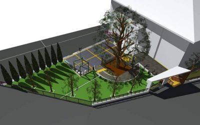 """Партерното уредување околу објектот """"Туристичкиот центар – Вевчани"""" (Старо училиште)"""